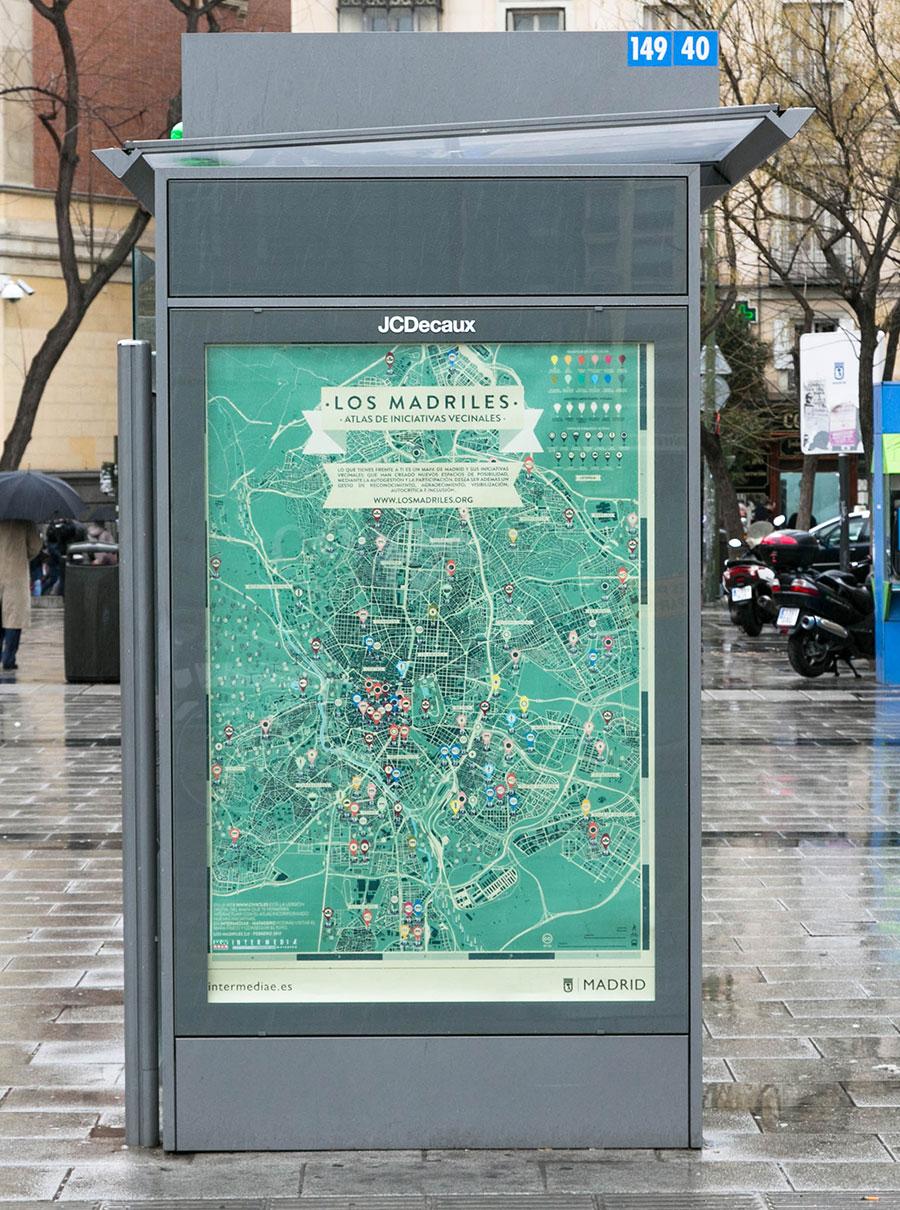 Mapa de Los Madriles en marquesinas de Madrid